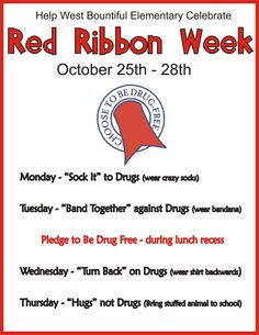 West Bountiful Elementary: Red Ribbon Week