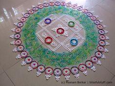 Creative rangoli design using bangles | Rangoli designs by Poonam Borkar
