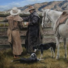 'In Silent Communication' oil on canvas, framed. Available from the Queenstown Gallery of Fine Art. Cowgirl And Horse, Cowboy Art, Gallery Walls, Art Gallery, Michael Doyle, Country Farm, Western Art, Landscape Art, Screens