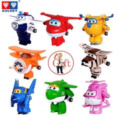 8PCS/Set AULDEY Super Wings Mini Airplane ABS Robot toys Action Figures Super Wing Transformation Jet Cartoon Children Kids Gift