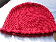 Pretty red, all cotton hat for the Fall and winter season. Fits adults. crochet.