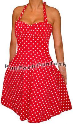 SS3 FUNFASH RED WHITE POLKA DOTS ROCKABILLY HALTER DRESS Plus Size 2X 22 24