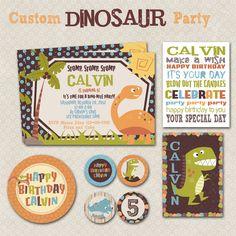 Custom Dinosaur Party Printable Kit.