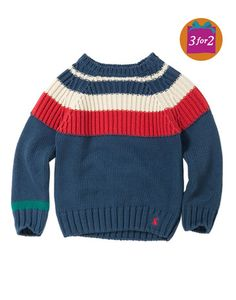 partially striped little boy sweater