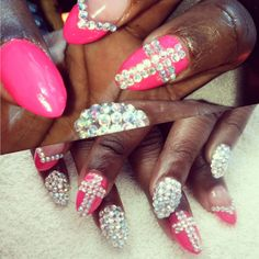 My nails Bling Bling stiletto nails