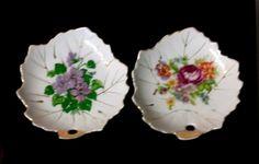 Pair of Vintage NASCO JAPAN Leaf Shape DISH Flowers Gold Detail and Gilt Edges  #NascoJapan