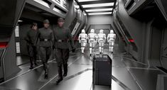 <p>This image by Paul Catling shows Rose Tico (Kelly Marie Tran), DJ (Benicio del Toro), Finn (John Boyega), and BB-8 (under the crate) in disguise as First Order officers as they infiltrate Snoke's Star Destroyer on a top-secret mission. The final version in the film is nearly identical. (Image courtesy of Abrams Books and Lucasfilm Ltd. Used under authorization.) </p>