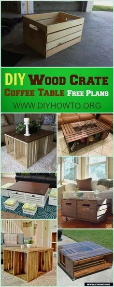 DIY Wood Crate Coffee Table Free Plans [Picture Instructions]: How to Make Wood Crate, Build Up Coffee Table Designs with 2 wood crates, 4 or 6 crates Wood Crate Table, Diy Crate Coffee Table, Crate End Tables, Wood Crate Furniture, Made Coffee Table, Coffee Table Makeover, Coffee Table Styling, Rustic Coffee Tables, Wood Crates