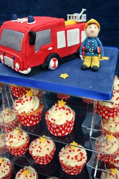 Fireman Birthday Cake and Cupcakes