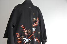 Black Kimono Jacket, Women's Kimono Cardigan, Shoulder Arms, Short Kimono, Adidas Jacket, Bamboo, Overalls, Japanese, Traditional