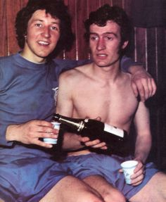 Derek Parlane and Sandy Jardine enjoy a drink after sinking Bayern Munich in 1972 the European Cup Winners' Cup semi-final