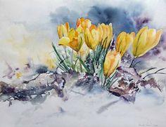 Lust auf Frühlingsaquarelle? | Geschafft (c) Krokuss Aquarell von Hanka Koebsch