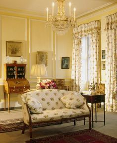 Drawing Room at Fenton House ~ In 1973 the National Trust invited John Fowler to refurbish and give it a mellow, lived-in atmosphere. Subtle multi-tone painted woodwork in several rooms, varied upholstery fabrics and sophisticated curtain treatments by Fowler.