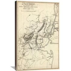 Global Gallery 'Septentrionale du New Jersey, et Positions des Armees Americaine et Britannique en 1776' by John Marshall Graphic Art on Wrapped Ca...