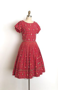 vintage 1950s dress 50s folk novelty print dress
