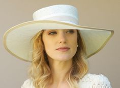 Wide Brim Cream Straw Hat Kentucky Derby Church by AwardDesign, $118.00