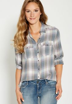 soft plaid button down shirt with two pockets - #maurices