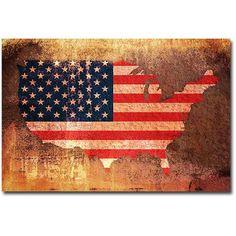 Trademark Art US Flag Map Canvas Wall Art by Michael Tompsett, Size: 16 x 24, Multicolor