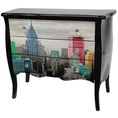 Oriental Furniture Colorful New York City 3 Drawer Cabinet in Black Lacquer