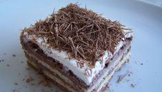 Nepečené pudingové rezy No Bake Cake, Tiramisu, Sweets, Candy, Chocolate, Baking, Ethnic Recipes, Bebe, Gummi Candy