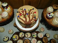 Tree Button Wedding Cake and Cupcakes