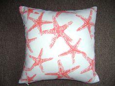 Salmon Starfish Pillow Cover 18''x18'' Beach by CleusaSordiDecor