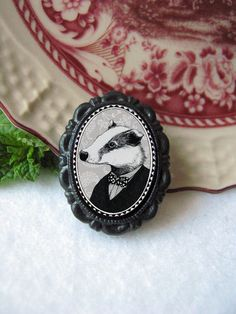 badger pin - victorian style portrait - black and white - honey badger by murmurfremo on Etsy https://www.etsy.com/listing/242573107/badger-pin-victorian-style-portrait