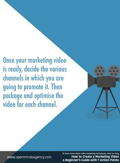 Once your marketing video is ready, decide the various channels in which you are going to promote it. Then package and optimise the video for each channel. To learn more about video marketing techniques, read our blog: [Click on the image] #omagency #video #marketing