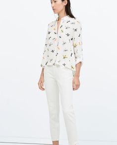 Image 1 of PRINTED SHIRT WITH TAB SLEEVES from Zara