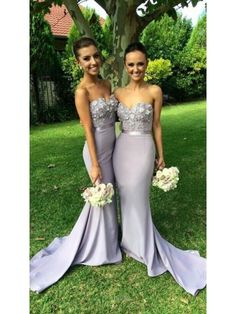 Lavender Sweetheart Lace-up Lace Applique Mermaid Prom Dress Bridesmaid Dresses