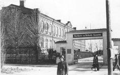 Lublin lata 40-te. Brama wjazdowa i budynek sztabu na terenie koszar 8 pułku legionów - Al. Racławickie