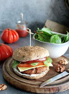 Hearty, meaty, and full of awesome textures, this Vegan Chickpea Burger with walnuts and mushrooms is simply awesome! Good enough to please any meat-eater!