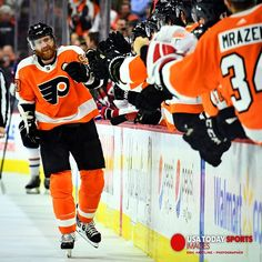 Jake!  Feb 20 2018; Philadelphia PA USA; Philadelphia Flyers right wing Jakub Voracek (93) celebrates his game tying goal late in the third period against the Montreal Canadiens at Wells Fargo Center. The Flyers defeated the Canadiens 3-2 in overtime. Mandatory Credit: Eric Hartline-USA TODAY Sports #flyers #nhl #philadelphiaflyers #letsgoflyers #jakubvoracek #montrealcanadiens #hockey #philly #usatodaysportsimages #sports #sportsphotography #philadelphia