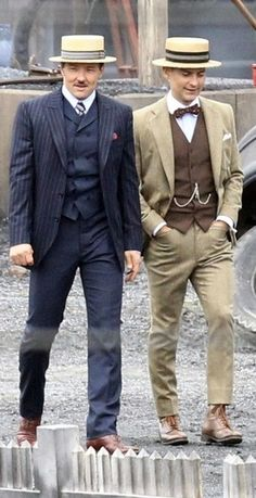 Joel Edgerton and Tobey Maguire in Costume for The Great Gatsby