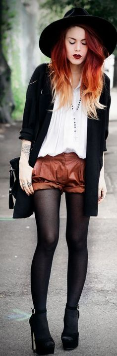 Cognac Leather Shorts by Le Happy