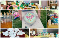 The outcome of Jonathan's zelda birthday party. Home made everything. Heart container cookies, Cucco cookies, Red, blue, yellow, and purple Chu-Chu jelly, Red, Blue and Green Potion. Home Made Shield cake, Fairies in a bottle, treasure chests that the kids got to decorate with hearts inside. Everything was decorated in Yellow and green.