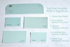 Nearing the perfect Robin's Egg Blue ideas for paint color. - Benjamin Moore Glass Slipper.
