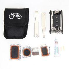 EA14 1x Bicycle Repair Tools Kit Biycle Cycling Puncture Bike Multi Function Tool Repair Kit Set With Pouch #bikerepairkit #bicyclerepairkit