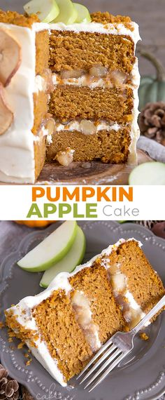 This Apple Pumpkin Cake is perfect for Fall! Moist and delicious pumpkin cake layers with a tangy cream cheese frosting and apple pie filling. | livforcake.com