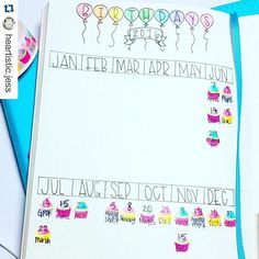 Show me your planner. I love this #birthday tracker from @heartistic.jess because of the cupcakes. I'm aways looking for ways to trick people into thinking I'm more #artistic than I actually am. No need to draw realistic looking cupcakes, just draw three splashes of color and there you go. ・・・ I'm super excited to show you all how I utilize my washy tape birthday tracker! I'll be recording this with my June