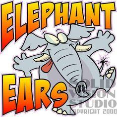 "14"" Elephant Ear Fun Fried Fast Food Concession Trailer Bar Vinyl Sign Decal"