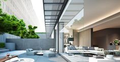 See pictures of the modern architecture and building design of SCDA Architects Design Director Soo K. Chan, including private homes, luxury resorts and residential towers. Scda Architects, Modern Interior, Interior Design, Condo Interior, Modern Decor, New York Galleries, Ceiling Plan, D House, Indoor Outdoor Living