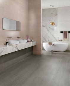 Atlas Concorde at Design District 2017 Toilette Design, Restroom Design, Pink Tiles, Tiles Texture, Ceramic Wall Tiles, Wall Cladding, Concorde, Decorative Tile, Concrete Floors