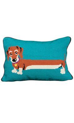 Sammy Sausage Dog Needlepoint Cushion from JOY
