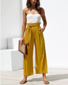 24 High Waisted Wide Leg Pants Outfits - Mustard High Waisted Wide Leg Linen Pants Outfit Source by simplymelaii - Wide Pants Outfit, Yellow Pants Outfit, Summer Pants Outfits, Gaucho Pants Outfit, Women's Pants, Plaid Pants, Adidas Pants, Blue Pants, Ankle Pants