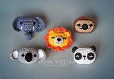 Panda, Lion, Elephant, Sloth, Koala Appliques Crochet Pattern