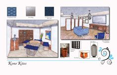 Kono Residence & Kono Kites- This is a page from my portfolio showing the furniture and textile selection for two rooms in the Kono Residence.