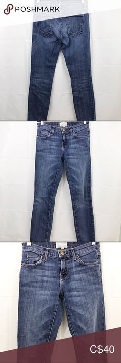 """Current/Elliott Skinny Loved Jeans Ankle Stretch Current Elliott Women's Jeans Size 24 Blue The Skinny Loved Stretch Ankle -preowned -no stains, tears or holes -was hemmed 1"""" -TAG READS SIZE 24 ACTUALLY MEASURES 26 -blue -size 24 -stretch -90% cotton, 6% polyester, 4% elastane COLOR MAY BE SLIGHTLY OFF DUE TO CAMERA FLASH AND LIGHTING Measurements: Waist: 26"""" Hips: 29"""" Inseam: 28.5"""" Outseam: 37"""" Front rise: 8"""" Back rise: 10"""" Leg opening: 10"""" Current/Elliott Jeans Ankle & Cropped Red Jeans, Women's Jeans, Ankle Stretches, 1. Tag, Super Stretch Jeans, Polka Dot Shorts, American Eagle Jeggings, Destroyed Jeans, Plus Fashion"""