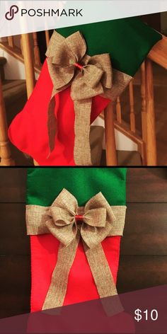 New Christmas Stocking Brand new hand made Christmas stocking. Felt stocking with burlap trim and bow. Other