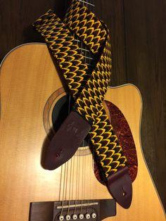 Handmade African wax print guitar strap -- cool reptilian look by MyMumDrivesaUFO on Etsy